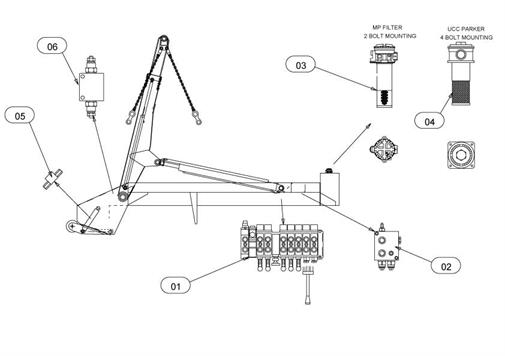 Drawing for Telehoist Skiploader POWER REACH CH503A-1 Hydraulics