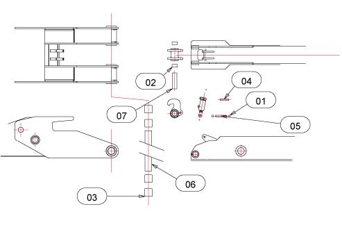 Drawing for Telehoist Hookloader TL22 Tip Frame / Lift Frame Pins And Bearings