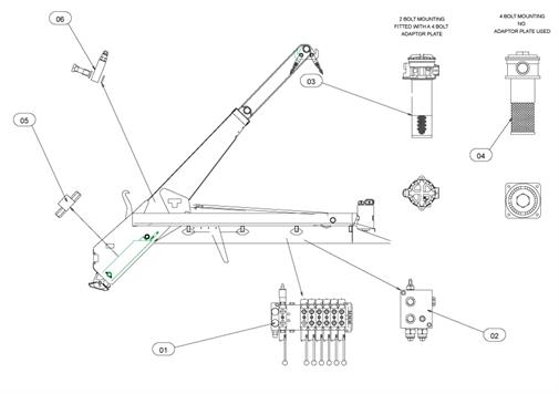 Drawing for Telehoist Skiploader CH18prS Hydraulics