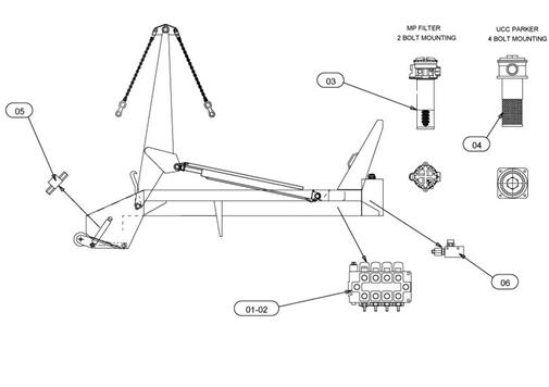 Drawing for Telehoist Skiploader CH503A-1 Hydraulics